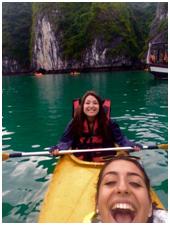 Berner and Cohn kayaking in Vietnam