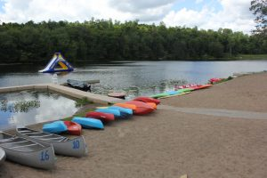 Kayaks by the lake